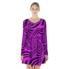 Black Spral Stripes Pink Long Sleeve Velvet V Neck Dress