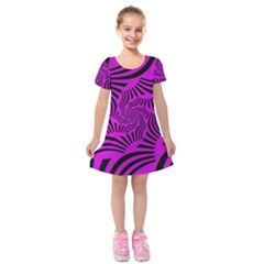 Black Spral Stripes Pink Kids  Short Sleeve Velvet Dress