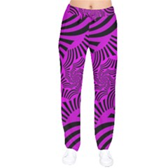 Black Spral Stripes Pink Drawstring Pants