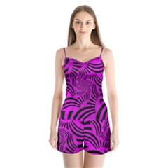 Black Spral Stripes Pink Satin Pajamas Set