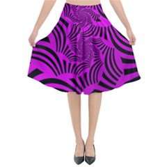 Black Spral Stripes Pink Flared Midi Skirt