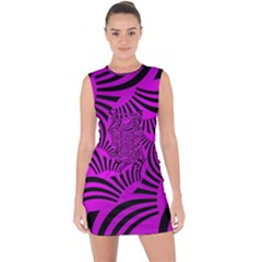 Black Spral Stripes Pink Lace Up Front Bodycon Dress