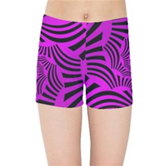 Black Spral Stripes Pink Kids Sports Shorts