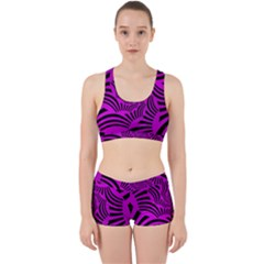 Black Spral Stripes Pink Work It Out Sports Bra Set
