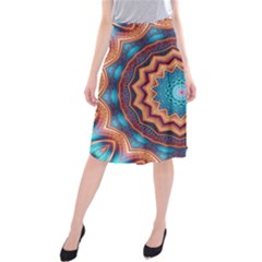 Blue Feather Mandala Midi Beach Skirt