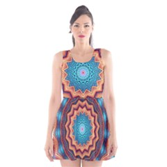 Blue Feather Mandala Scoop Neck Skater Dress