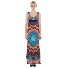 Blue Feather Mandala Maxi Thigh Split Dress