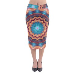 Blue Feather Mandala Midi Pencil Skirt