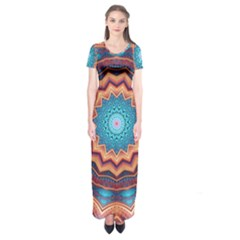Blue Feather Mandala Short Sleeve Maxi Dress
