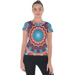 Blue Feather Mandala Short Sleeve Sports Top