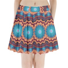 Blue Feather Mandala Pleated Mini Skirt