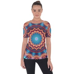Blue Feather Mandala Short Sleeve Top