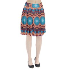 Blue Feather Mandala Pleated Skirt