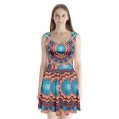 Blue Feather Mandala Split Back Mini Dress