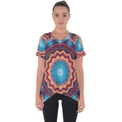Blue Feather Mandala Cut Out Side Drop Tee