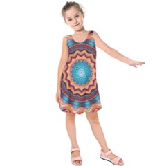 Blue Feather Mandala Kids  Sleeveless Dress