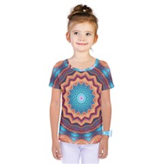 Blue Feather Mandala Kids  One Piece Tee