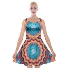 Blue Feather Mandala Velvet Skater Dress