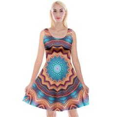 Blue Feather Mandala Reversible Velvet Sleeveless Dress