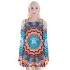 Blue Feather Mandala Velvet Long Sleeve Shoulder Cutout Dress