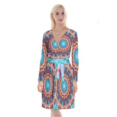 Blue Feather Mandala Long Sleeve Velvet Front Wrap Dress