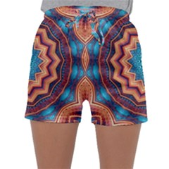 Blue Feather Mandala Sleepwear Shorts