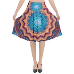 Blue Feather Mandala Flared Midi Skirt