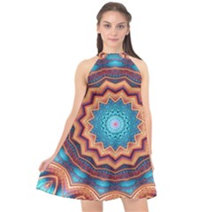 Blue Feather Mandala Halter Neckline Chiffon Dress