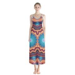 Blue Feather Mandala Button Up Chiffon Maxi Dress