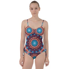 Blue Feather Mandala Sweetheart Tankini Set