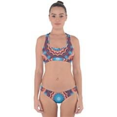 Blue Feather Mandala Cross Back Hipster Bikini Set