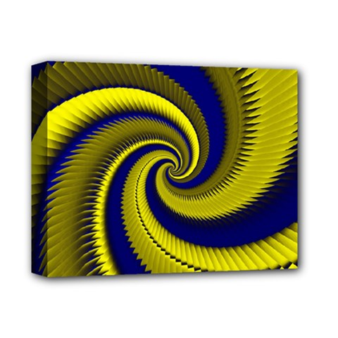 Blue Gold Dragon Spiral Deluxe Canvas 14  X 11