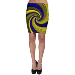Blue Gold Dragon Spiral Bodycon Skirt