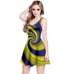 Blue Gold Dragon Spiral Reversible Sleeveless Dress