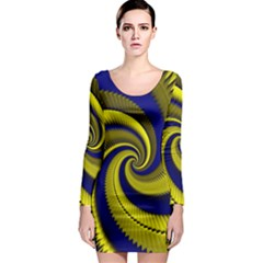 Blue Gold Dragon Spiral Long Sleeve Bodycon Dress