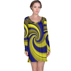 Blue Gold Dragon Spiral Long Sleeve Nightdress