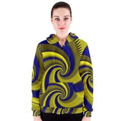 Blue Gold Dragon Spiral Women s Zipper Hoodie