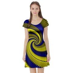 Blue Gold Dragon Spiral Short Sleeve Skater Dress