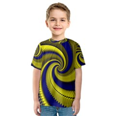 Blue Gold Dragon Spiral Kids  Sport Mesh Tee