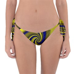 Blue Gold Dragon Spiral Reversible Bikini Bottom