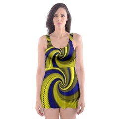 Blue Gold Dragon Spiral Skater Dress Swimsuit