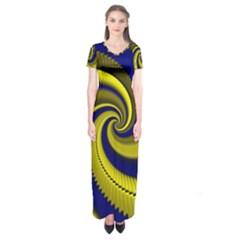 Blue Gold Dragon Spiral Short Sleeve Maxi Dress