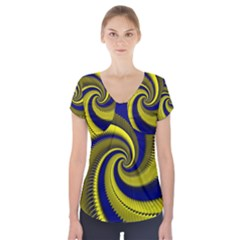 Blue Gold Dragon Spiral Short Sleeve Front Detail Top
