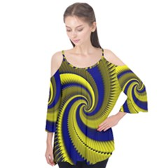 Blue Gold Dragon Spiral Flutter Tees