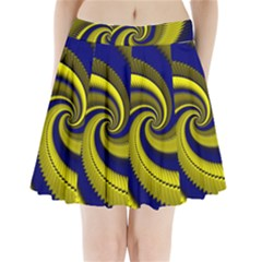 Blue Gold Dragon Spiral Pleated Mini Skirt