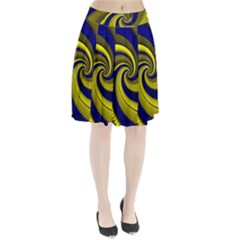 Blue Gold Dragon Spiral Pleated Skirt