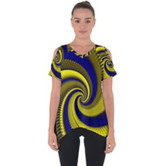 Blue Gold Dragon Spiral Cut Out Side Drop Tee