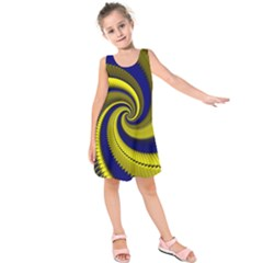 Blue Gold Dragon Spiral Kids  Sleeveless Dress
