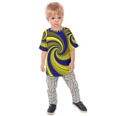 Blue Gold Dragon Spiral Kids Raglan Tee
