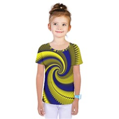 Blue Gold Dragon Spiral Kids  One Piece Tee